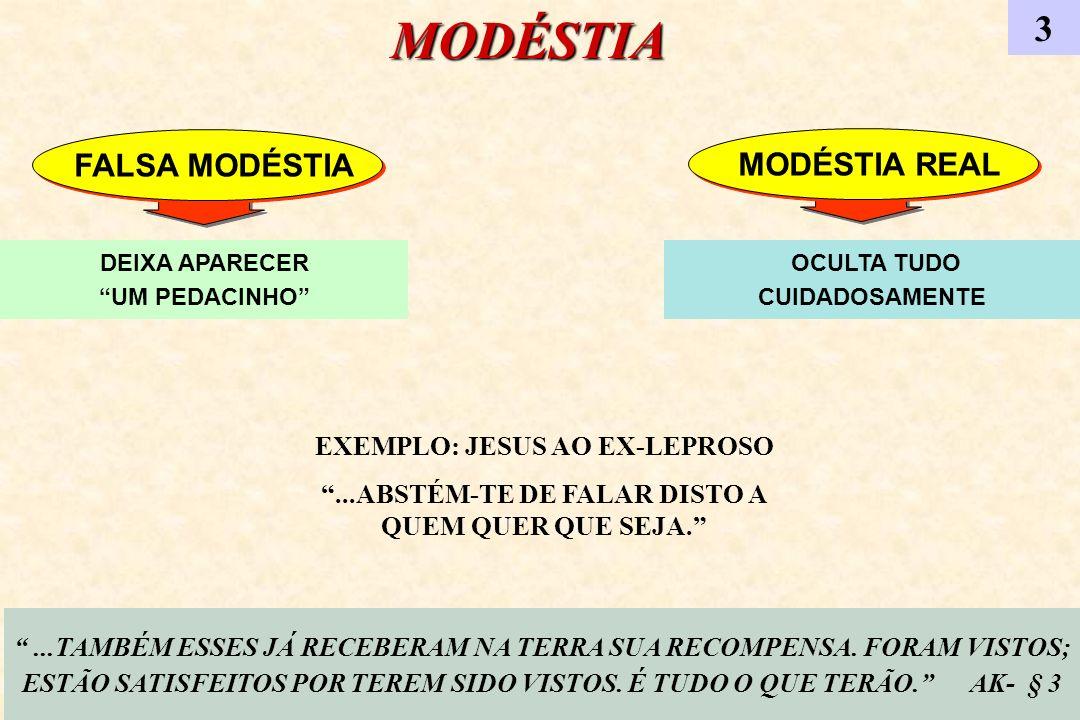 MODÉSTIA 3 EXEMPLO: JESUS AO EX-LEPROSO