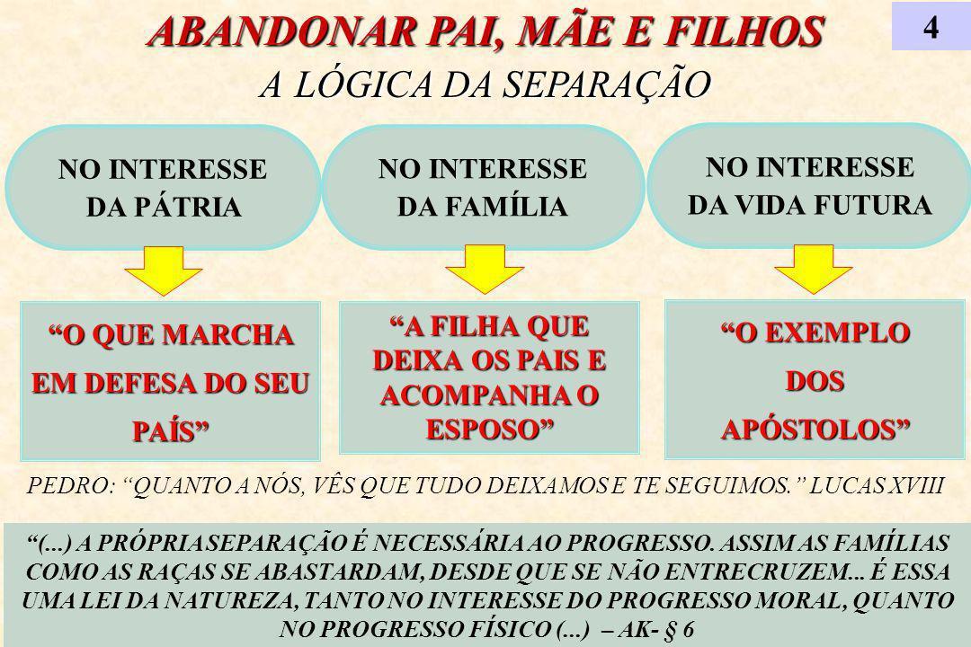 ABANDONAR PAI, MÃE E FILHOS A LÓGICA DA SEPARAÇÃO
