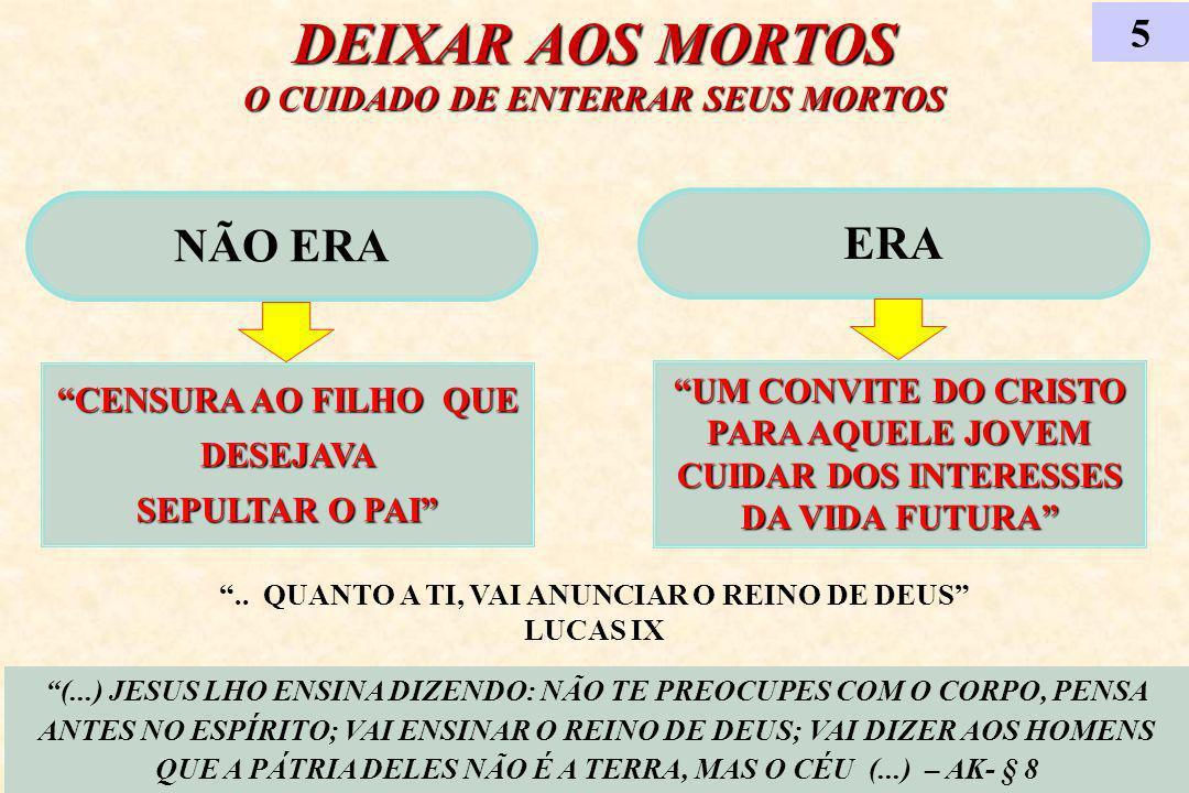 DEIXAR AOS MORTOS O CUIDADO DE ENTERRAR SEUS MORTOS