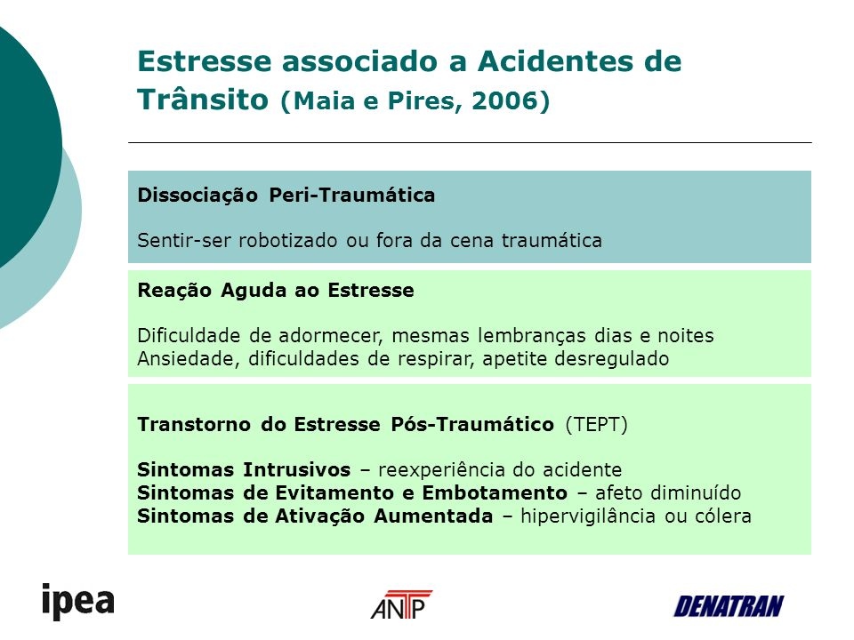 Estresse associado a Acidentes de Trânsito (Maia e Pires, 2006)