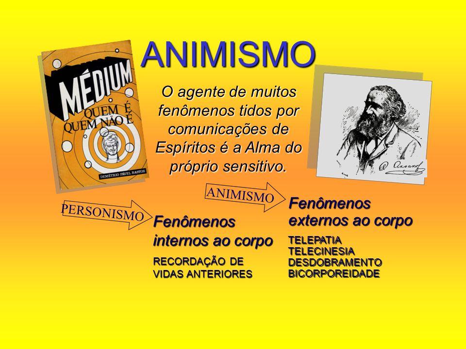 ANIMISMOO agente de muitos fenômenos tidos por comunicações de Espíritos é a Alma do próprio sensitivo.