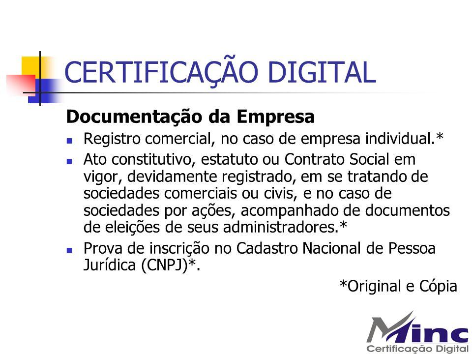 CERTIFICAÇÃO DIGITAL Documentação da Empresa