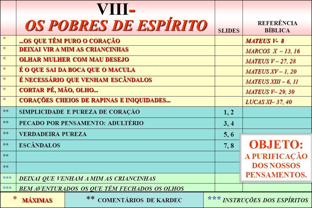 VIII- OS POBRES DE ESPÍRITO
