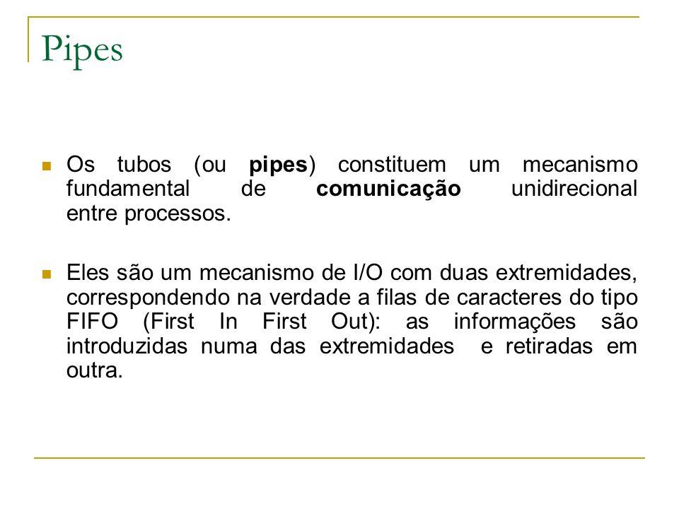 Pipes Os tubos (ou pipes) constituem um mecanismo fundamental de comunicação unidirecional entre processos.