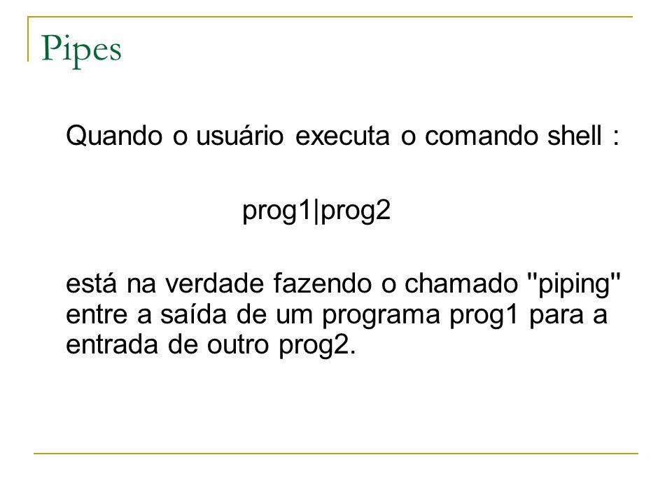 Pipes Quando o usuário executa o comando shell : prog1|prog2