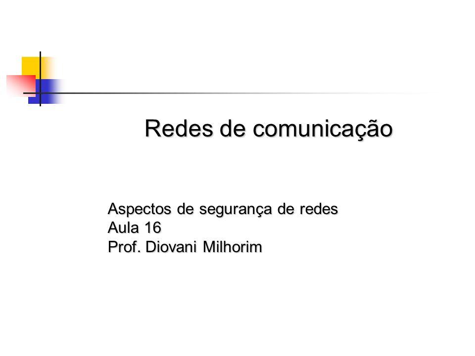 Redes de comunicação Aspectos de segurança de redes Aula 16