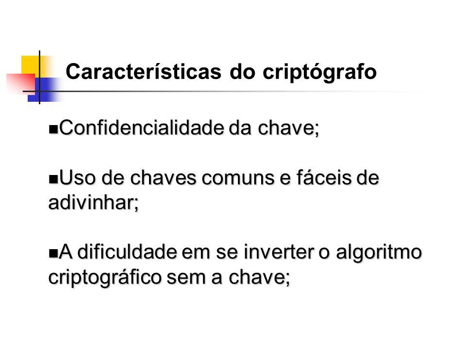 Características do criptógrafo