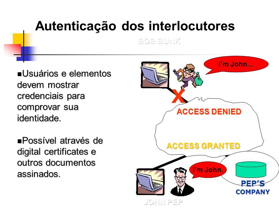 X Autenticação dos interlocutores