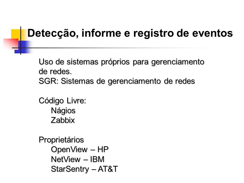Detecção, informe e registro de eventos