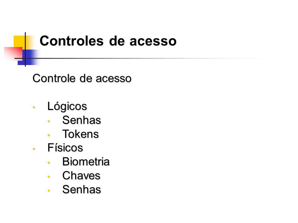 Controles de acesso Controle de acesso Lógicos Senhas Tokens Físicos