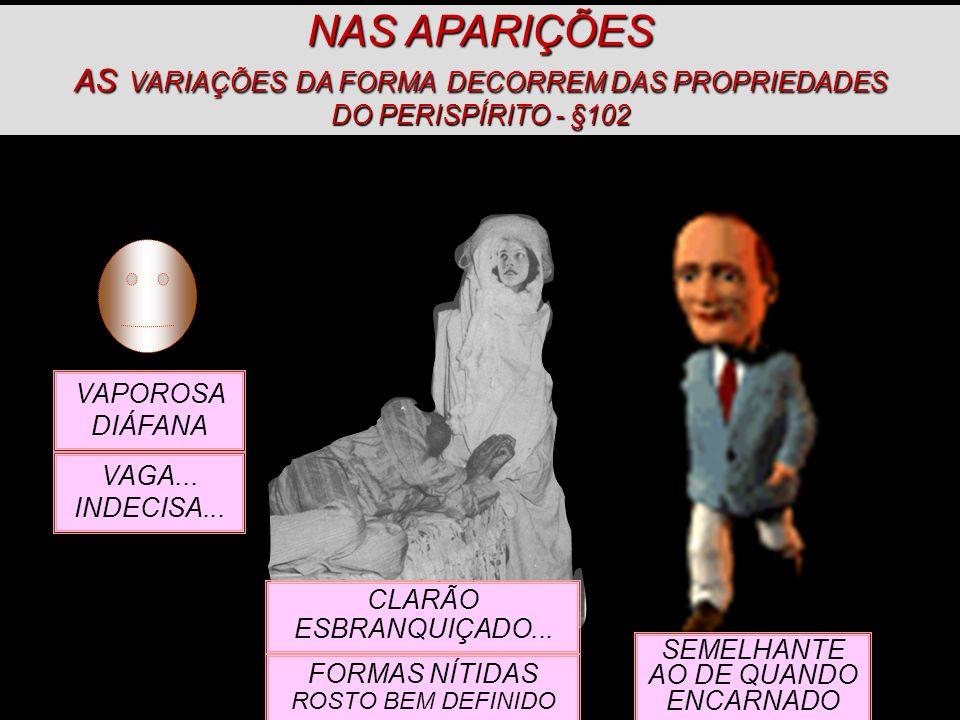 NAS APARIÇÕES AS VARIAÇÕES DA FORMA DECORREM DAS PROPRIEDADES DO PERISPÍRITO - §102
