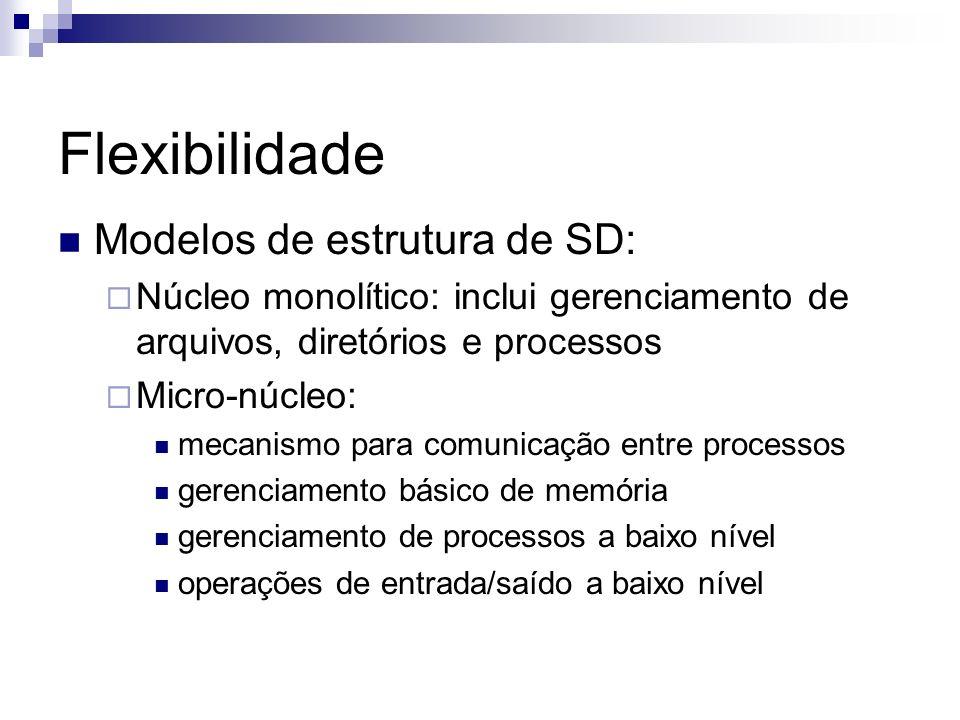 Flexibilidade Modelos de estrutura de SD: