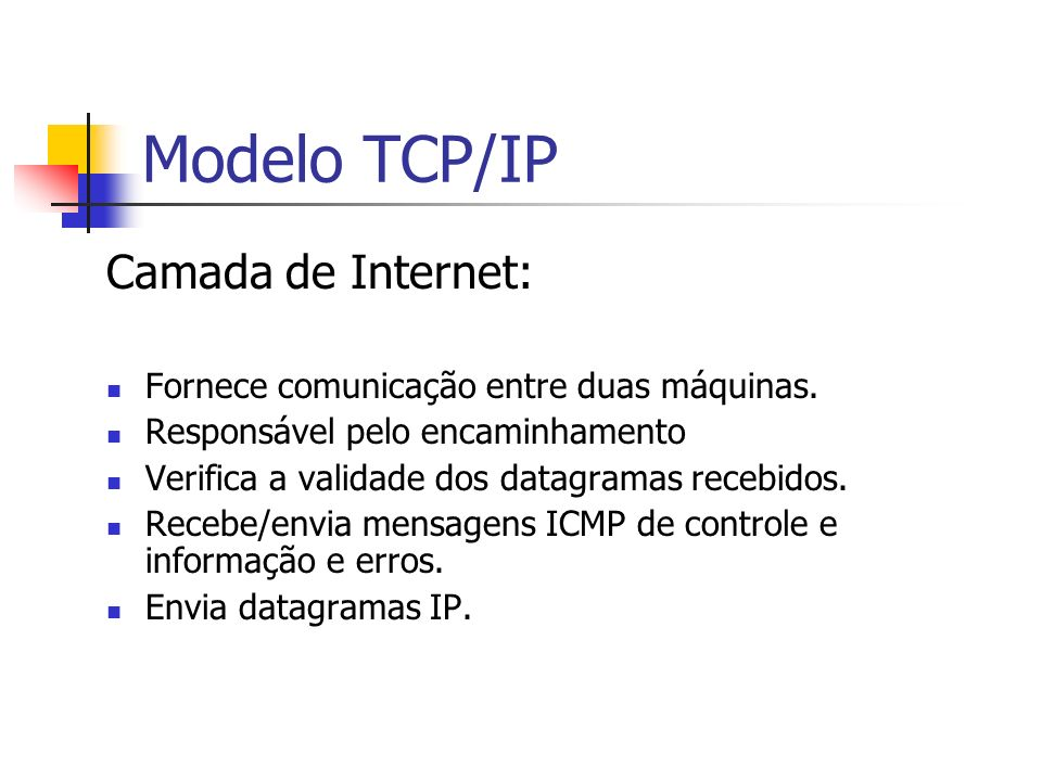 Modelo TCP/IP Camada de Internet: