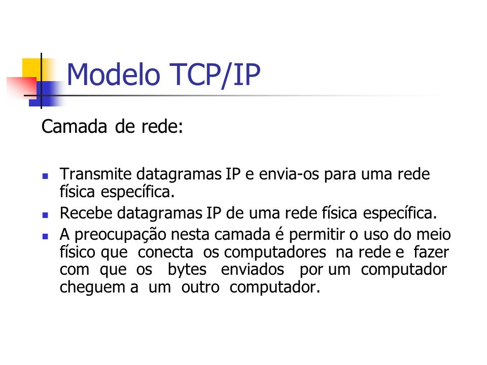 Modelo TCP/IP Camada de rede: