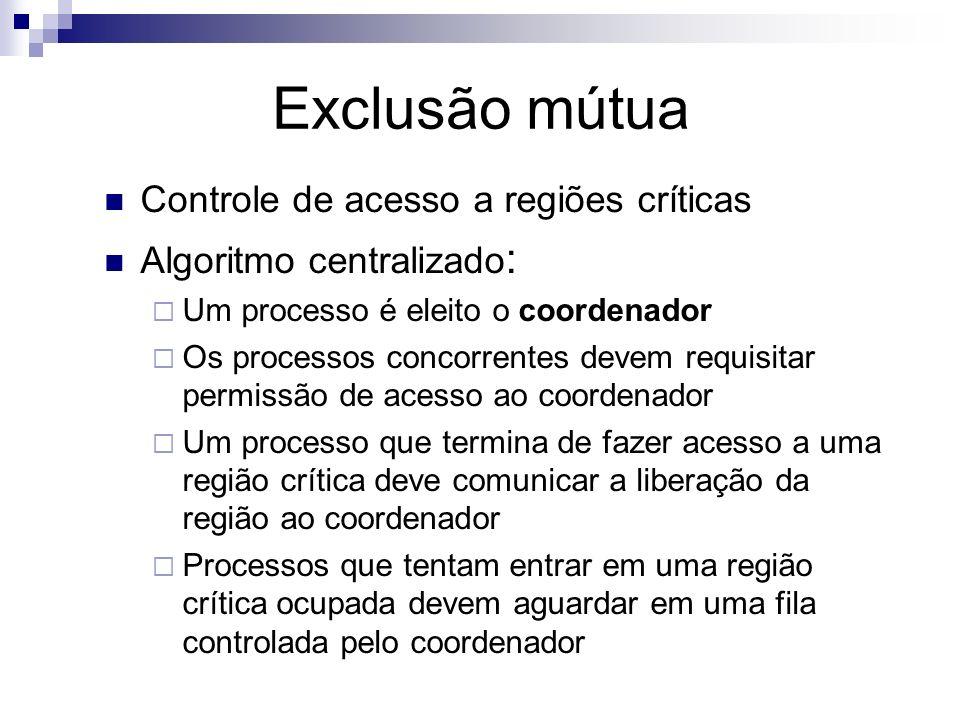 Exclusão mútua Controle de acesso a regiões críticas