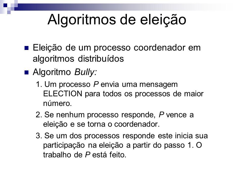 Algoritmos de eleiçãoEleição de um processo coordenador em algoritmos distribuídos. Algoritmo Bully: