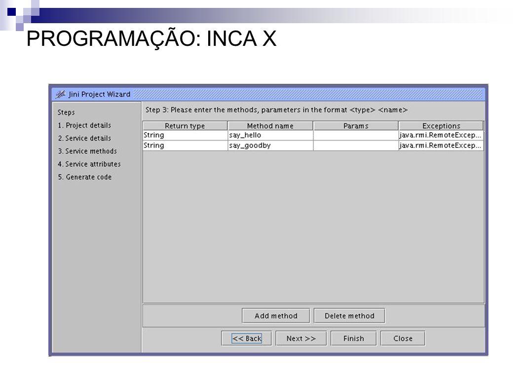 PROGRAMAÇÃO: INCA X