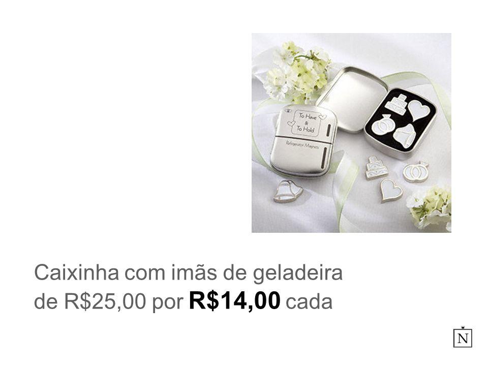 Caixinha com imãs de geladeira de R$25,00 por R$14,00 cada