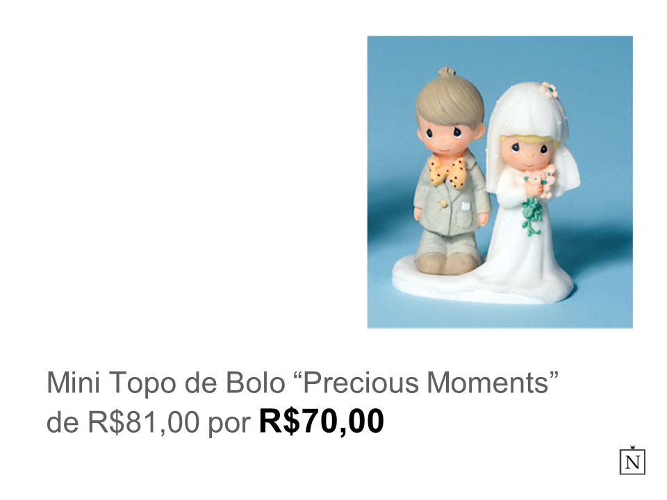Mini Topo de Bolo Precious Moments de R$81,00 por R$70,00