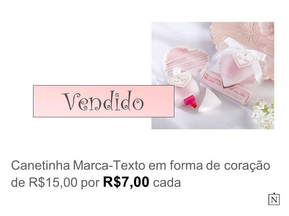Canetinha Marca-Texto em forma de coração de R$15,00 por R$7,00 cada