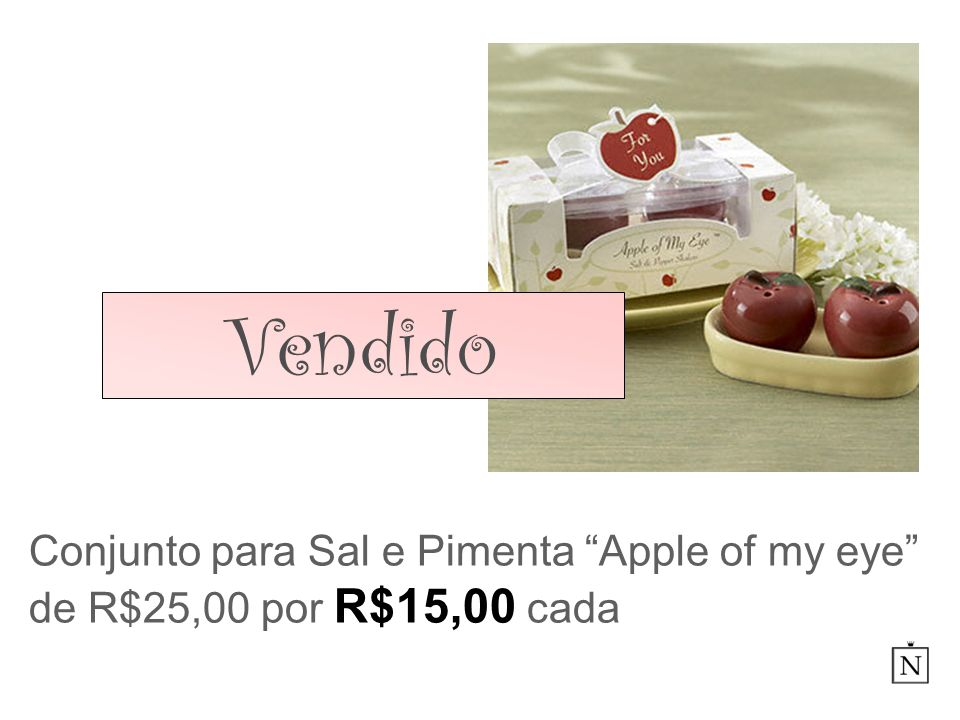 Vendido Conjunto para Sal e Pimenta Apple of my eye de R$25,00 por R$15,00 cada