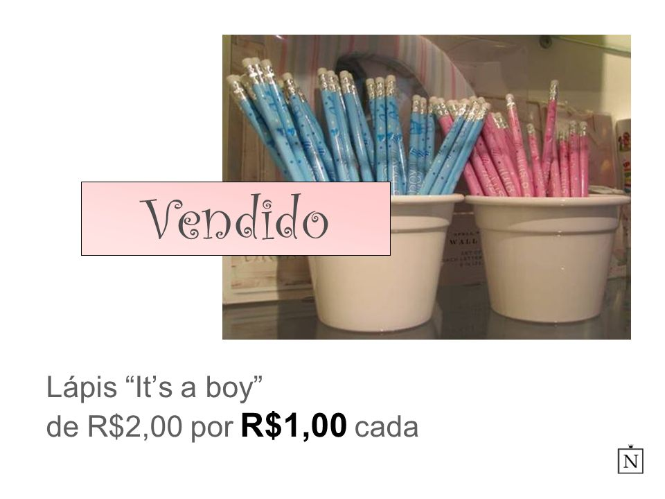 Lápis It's a boy de R$2,00 por R$1,00 cada