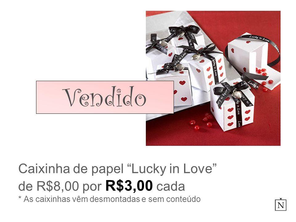 VendidoCaixinha de papel Lucky in Love de R$8,00 por R$3,00 cada * As caixinhas vêm desmontadas e sem conteúdo.