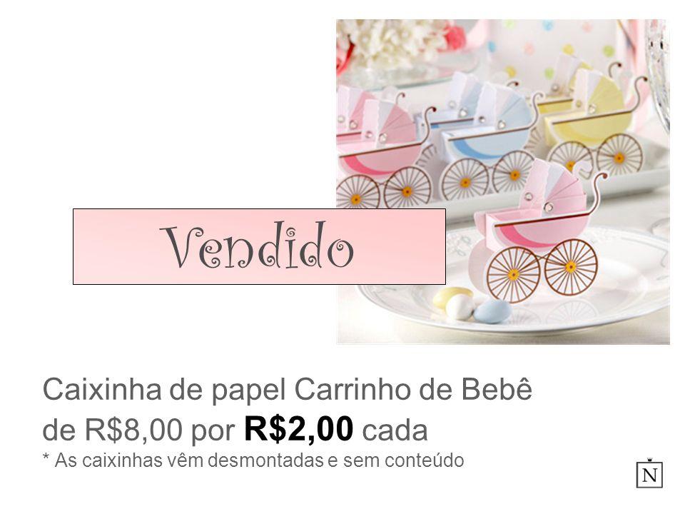 VendidoCaixinha de papel Carrinho de Bebê de R$8,00 por R$2,00 cada * As caixinhas vêm desmontadas e sem conteúdo.