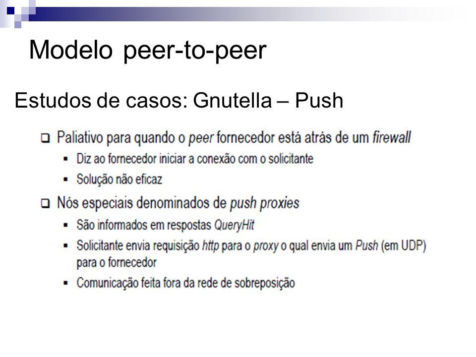 Modelo peer-to-peer Estudos de casos: Gnutella – Push