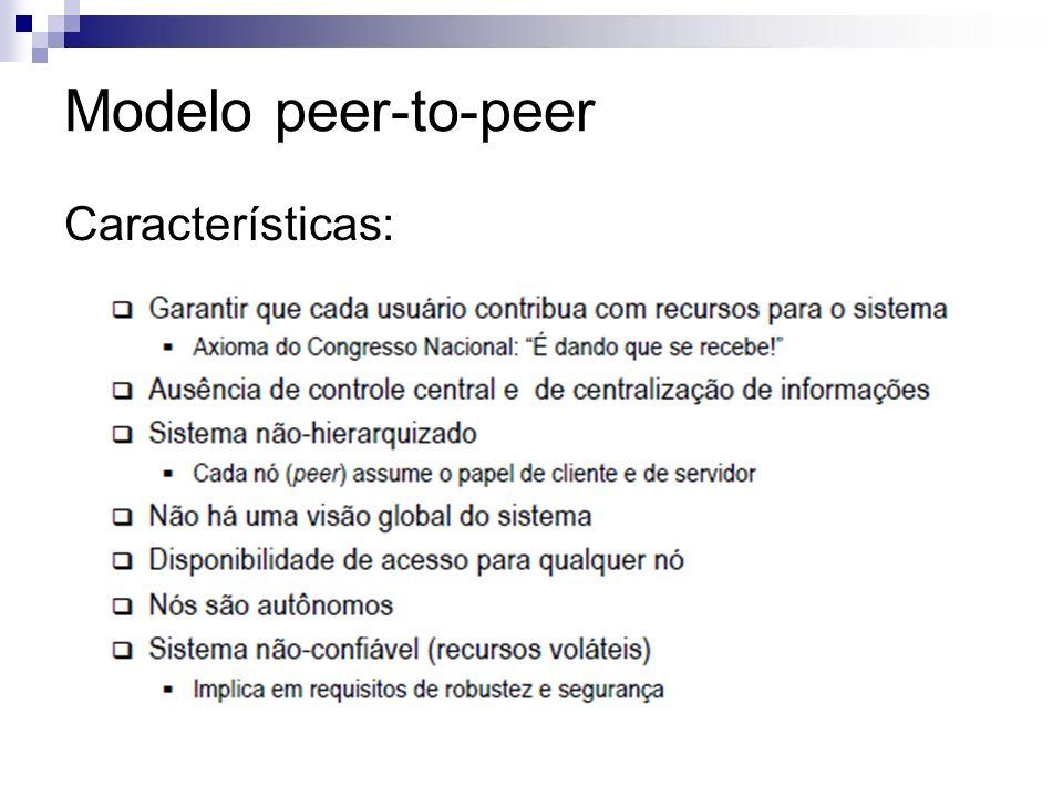 Modelo peer-to-peer Características: