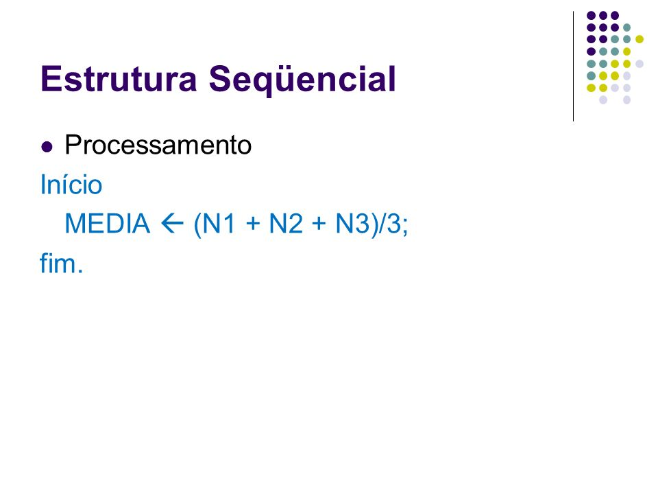 Estrutura Seqüencial Processamento Início MEDIA  (N1 + N2 + N3)/3;