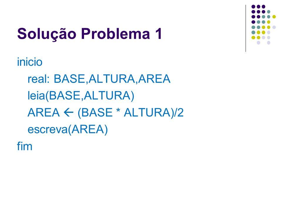 Solução Problema 1inicio real: BASE,ALTURA,AREA leia(BASE,ALTURA) AREA  (BASE * ALTURA)/2 escreva(AREA) fim