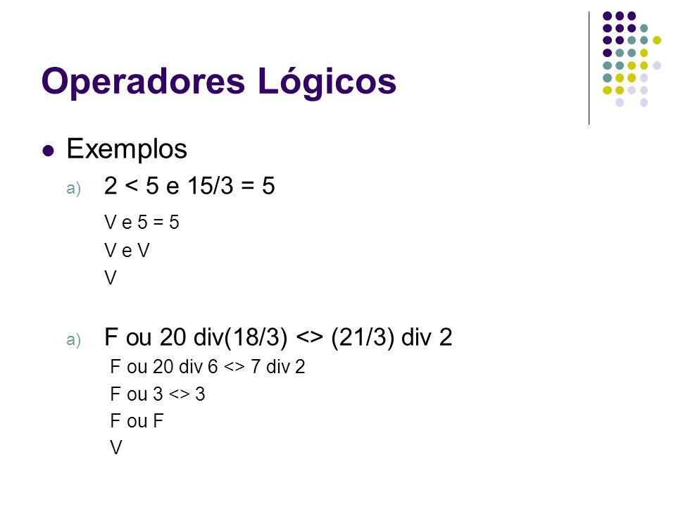 Operadores Lógicos Exemplos 2 < 5 e 15/3 = 5 V e 5 = 5