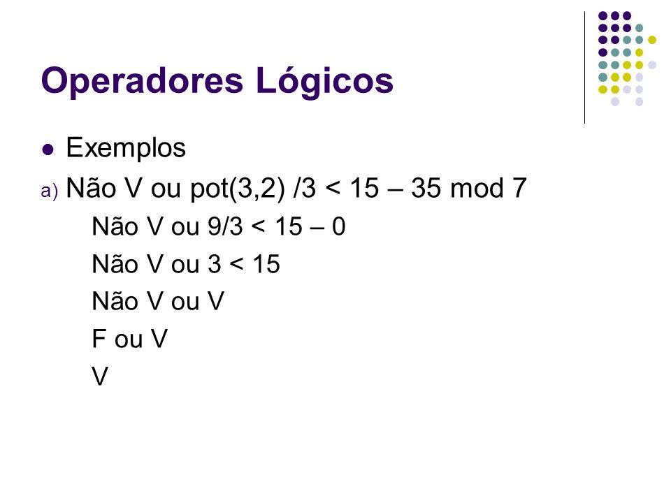 Operadores Lógicos Exemplos Não V ou pot(3,2) /3 < 15 – 35 mod 7