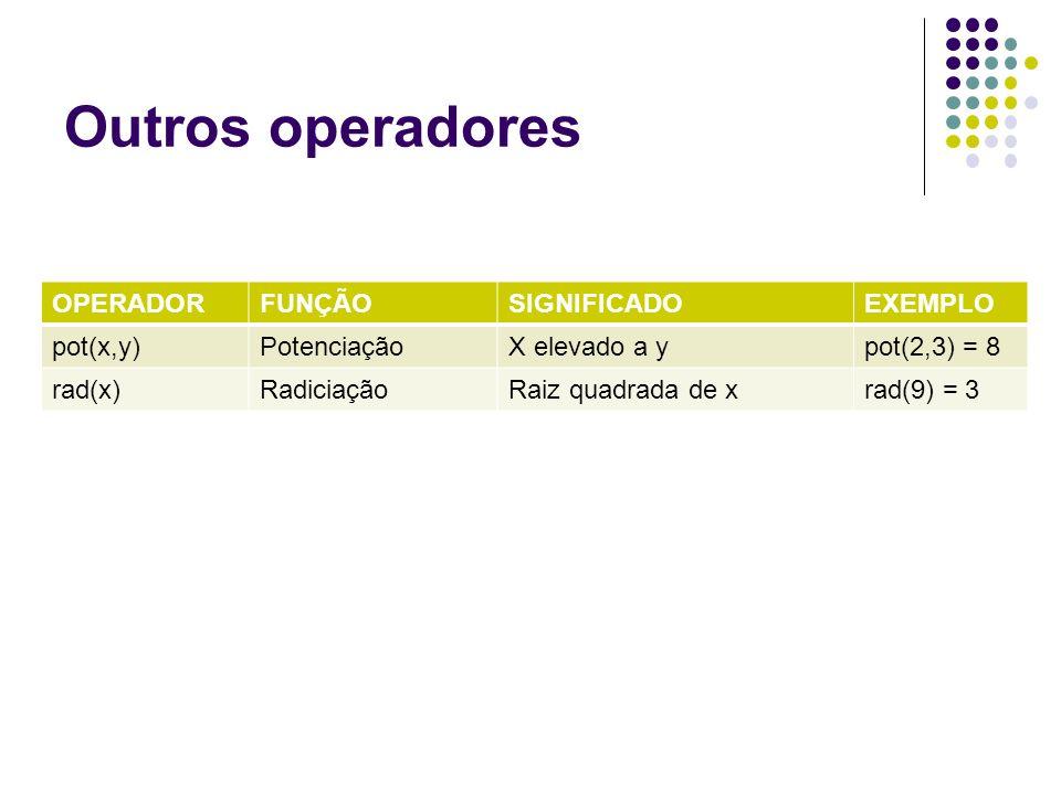 Outros operadores OPERADOR FUNÇÃO SIGNIFICADO EXEMPLO pot(x,y)