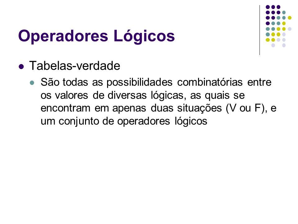 Operadores Lógicos Tabelas-verdade