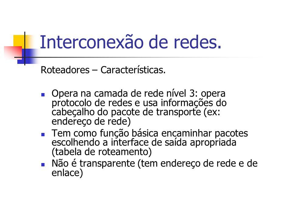 Interconexão de redes. Roteadores – Características.