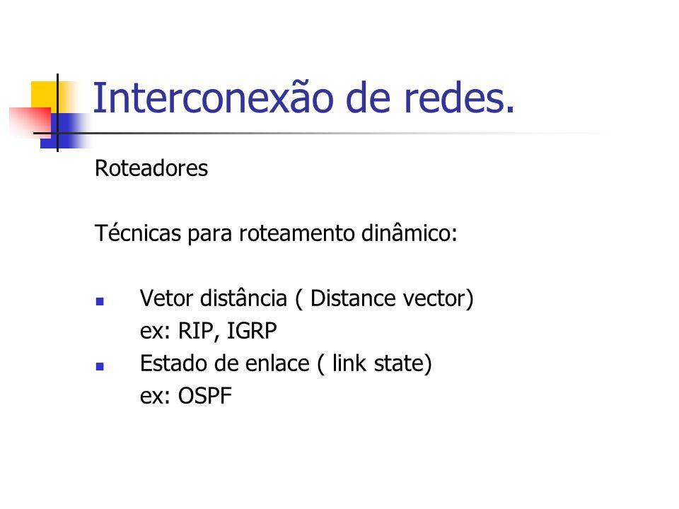 Interconexão de redes. Roteadores Técnicas para roteamento dinâmico: