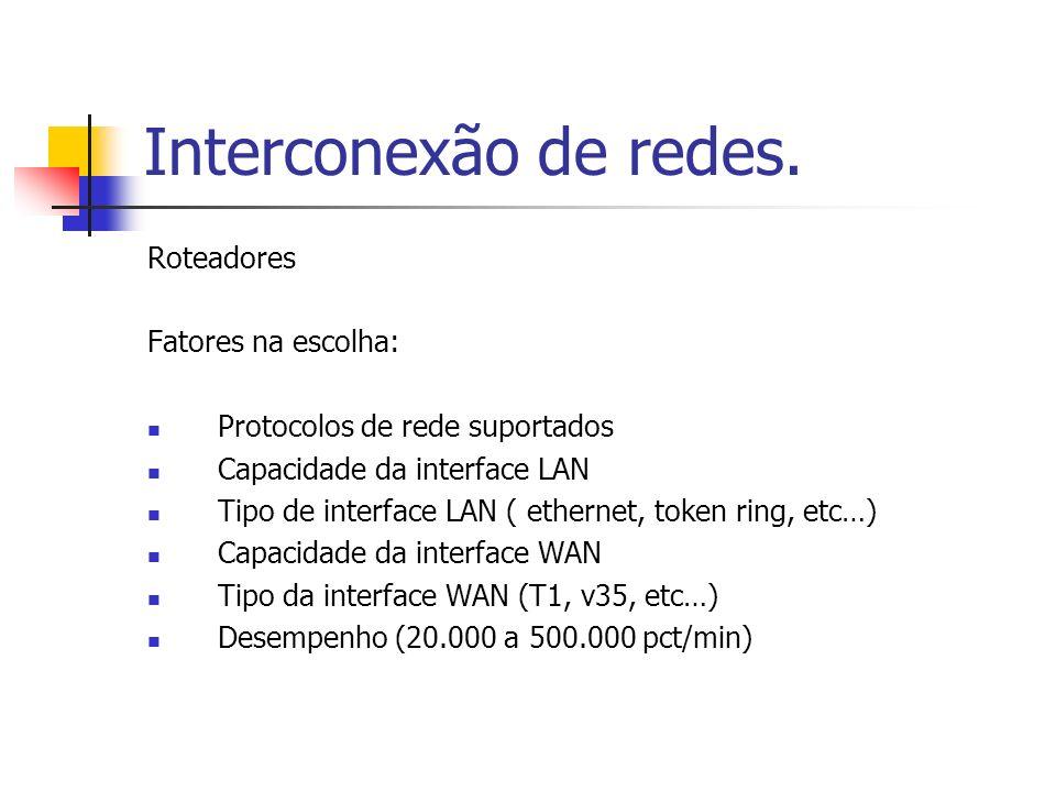 Interconexão de redes. Roteadores Fatores na escolha: