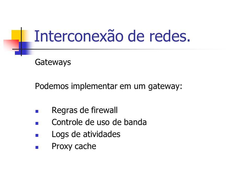 Interconexão de redes. Gateways Podemos implementar em um gateway: