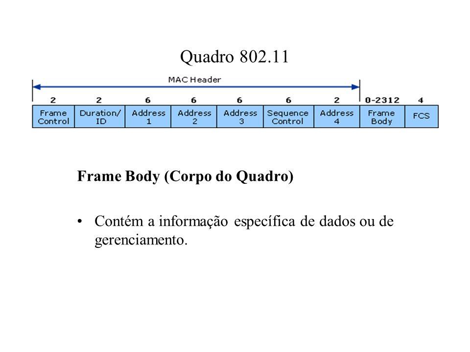 Quadro 802.11 Frame Body (Corpo do Quadro)