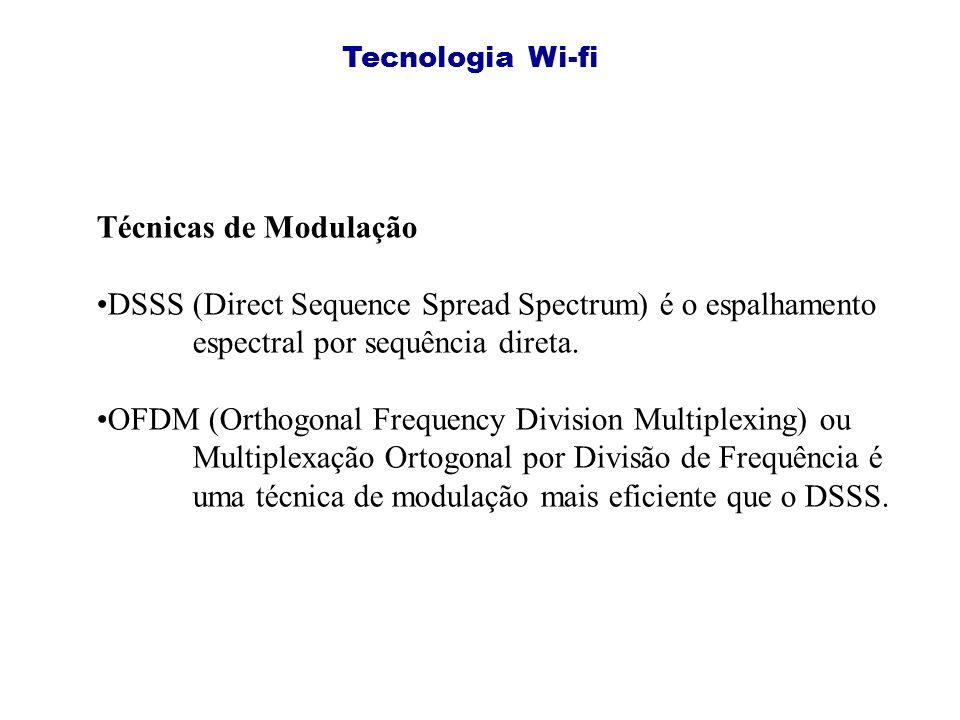 Tecnologia Wi-fi Técnicas de Modulação. DSSS (Direct Sequence Spread Spectrum) é o espalhamento espectral por sequência direta.