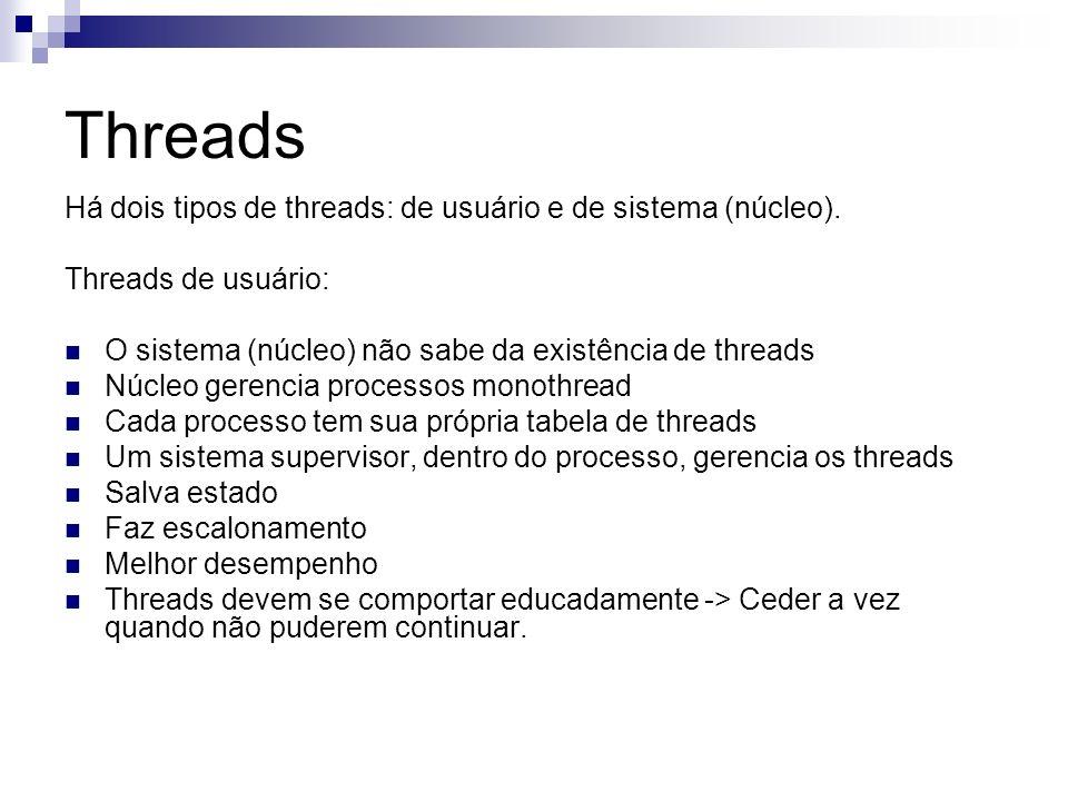 Threads Há dois tipos de threads: de usuário e de sistema (núcleo).