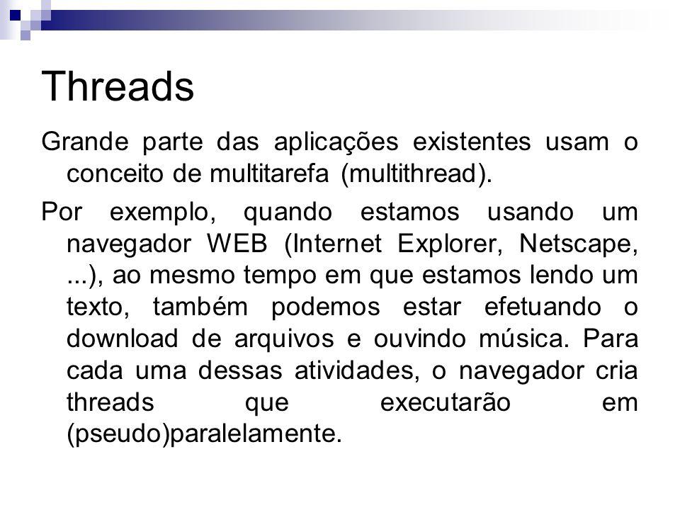 Threads Grande parte das aplicações existentes usam o conceito de multitarefa (multithread).