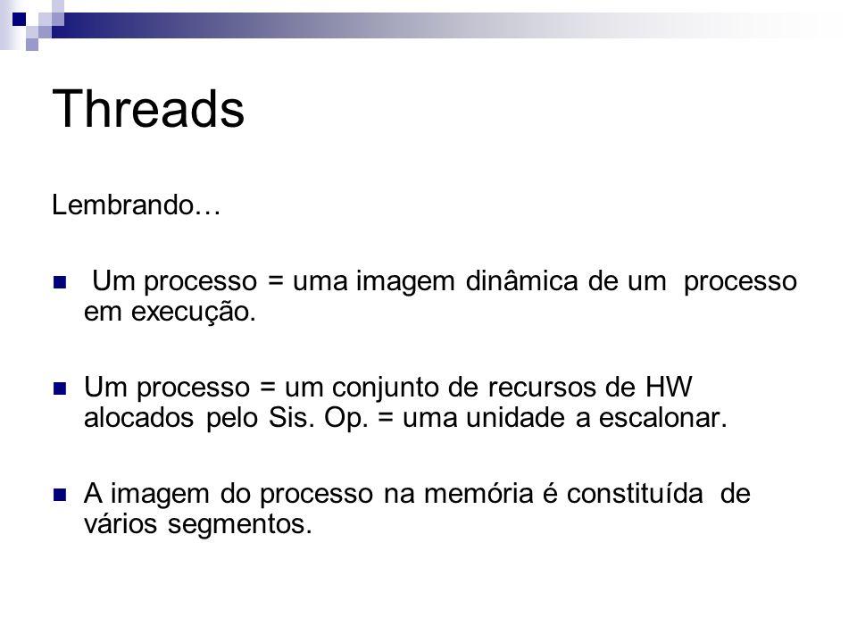 ThreadsLembrando… Um processo = uma imagem dinâmica de um processo em execução.