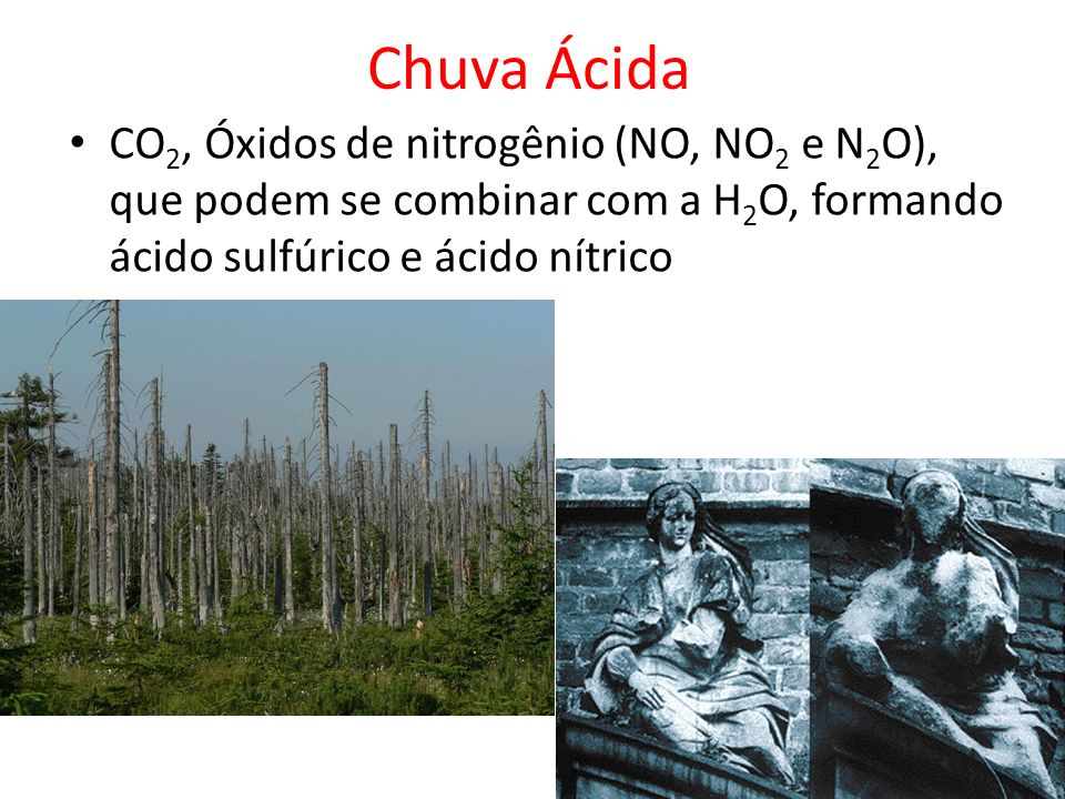 Chuva Ácida CO2, Óxidos de nitrogênio (NO, NO2 e N2O), que podem se combinar com a H2O, formando ácido sulfúrico e ácido nítrico.