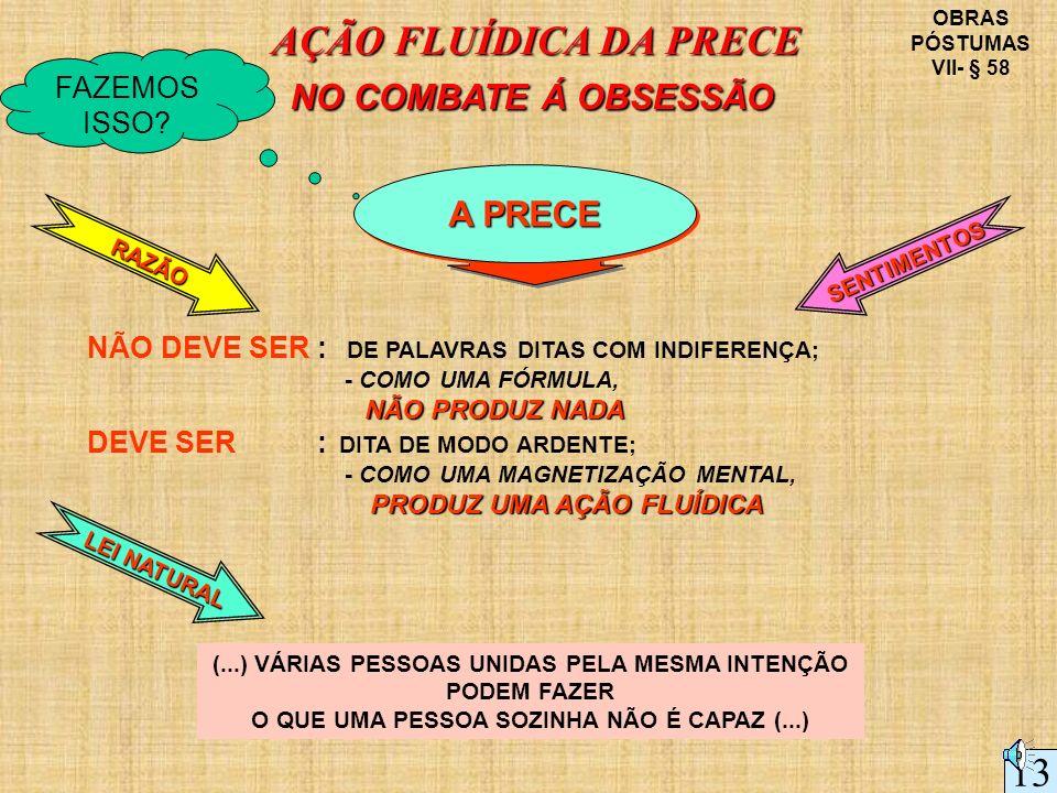 AÇÃO FLUÍDICA DA PRECE 13 NO COMBATE Á OBSESSÃO A PRECE FAZEMOS ISSO