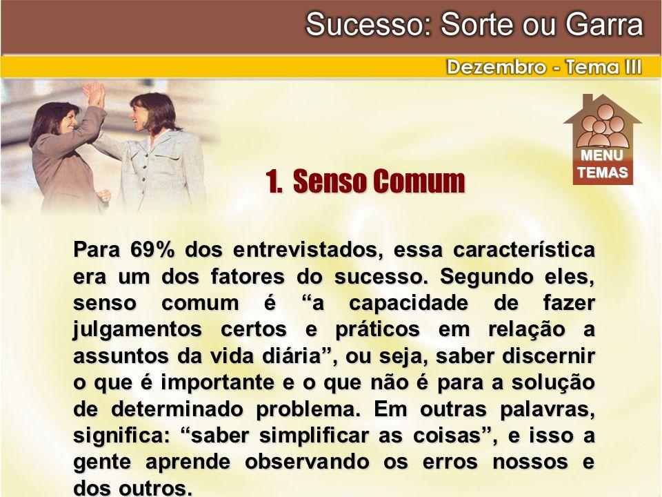 MENU TEMAS. 1. Senso Comum.