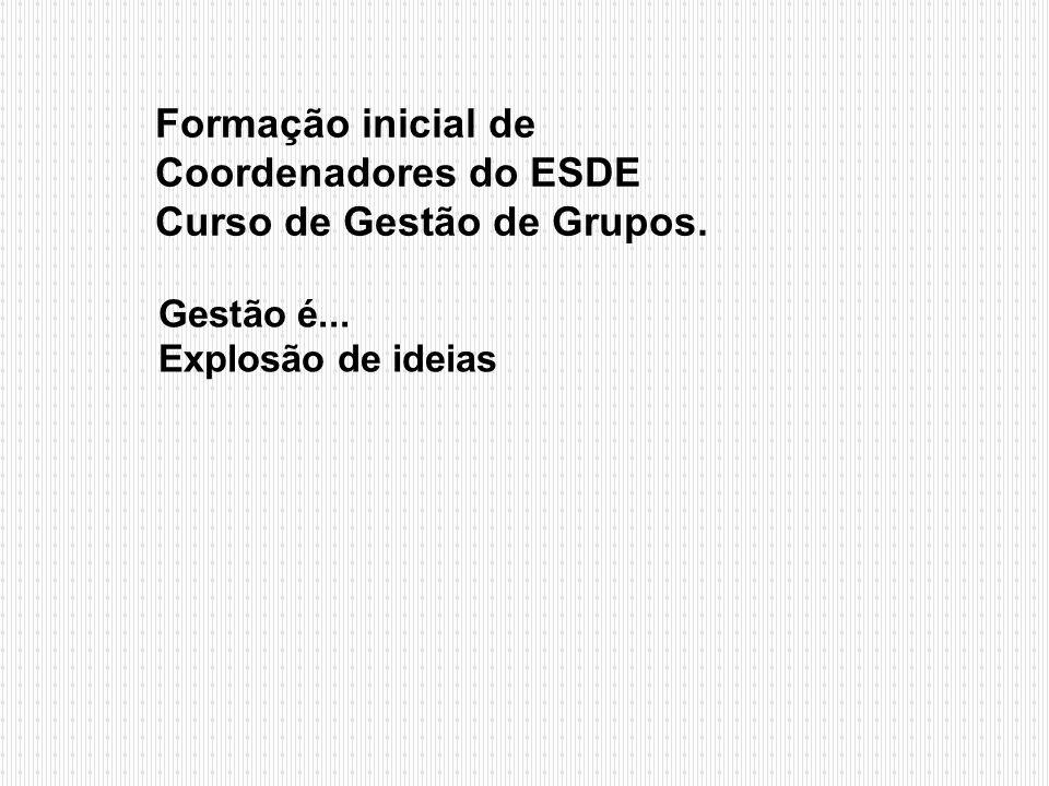 Formação inicial de Coordenadores do ESDE Curso de Gestão de Grupos.