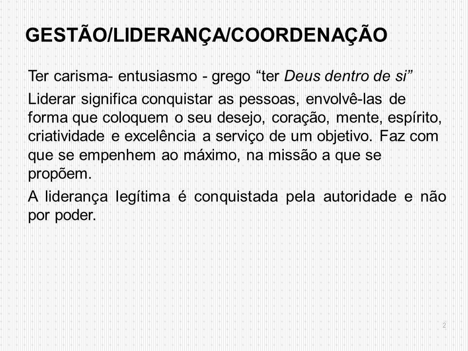 GESTÃO/LIDERANÇA/COORDENAÇÃO